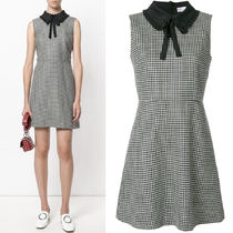 17-18AW RV081  WOOL FLARE DRESS WITH RUFFLED COLLAR & BOW