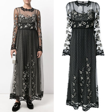 17-18AW RV085 FLORAL EMBROIDERED TULLE DRESS