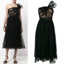 17-18AW RV087 WRINKLED TULLE DRESS WITH BOW DETAIL