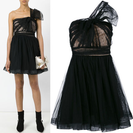 17-18AW RV088 WRINKLED TULLE DRESS WITH BOW DETAIL