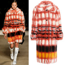 MM304 LOOK10 CHECKED FAUX FUR COAT