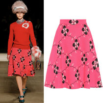 MM306 LOOK16 FLORAL KNIT FLARE SKIRT