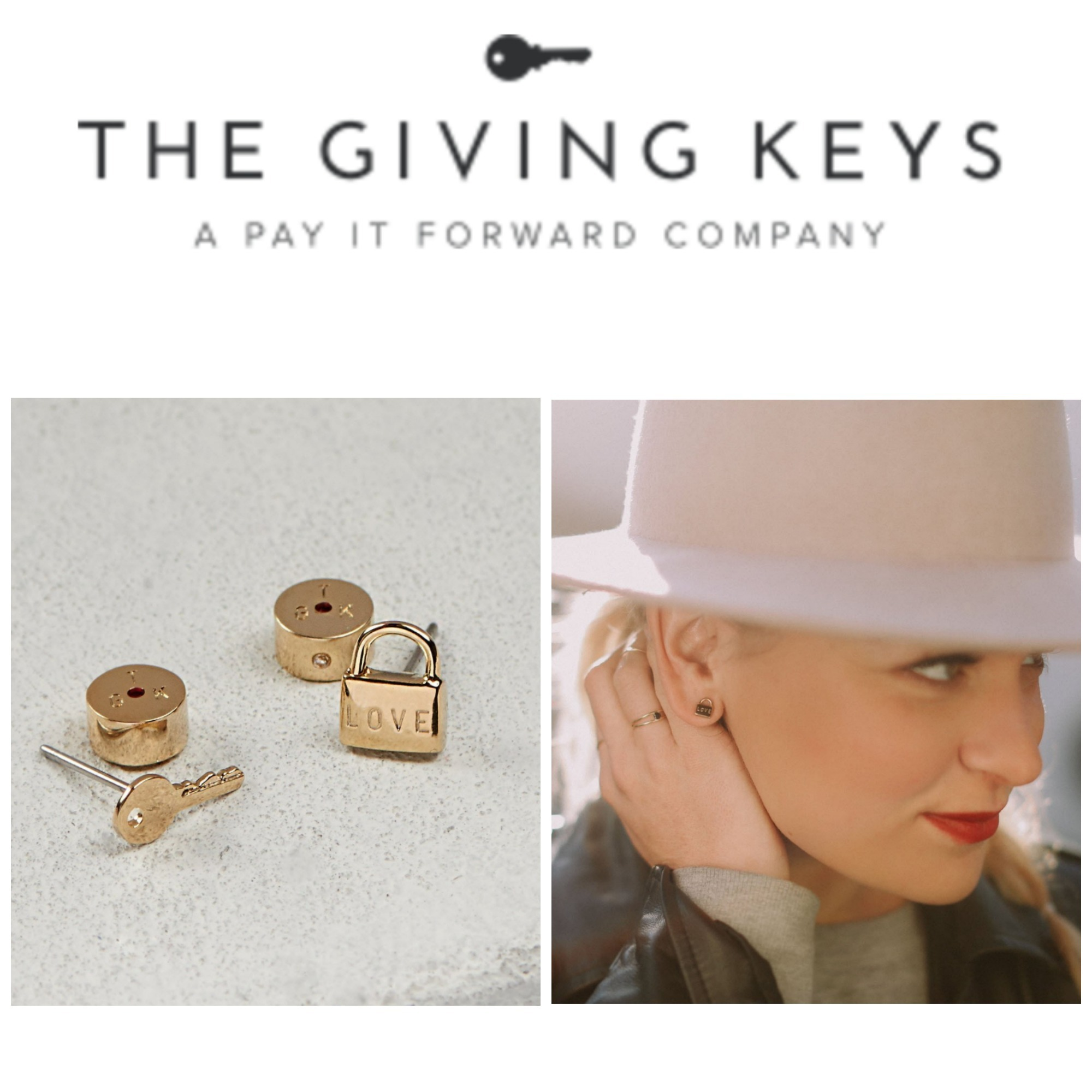 【THE GIVING KEYS】LOVE MINI PADLOCK & KEY POST EARRINGS