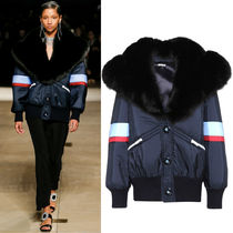 MM308 LOOK37 OVERSIZED BOMBER JACKET WITH FOX FUR COLLAR