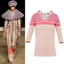MM312 LOOK4 STRIPED WOOL JERSEY TOP WITH JEWELRY DECORATION