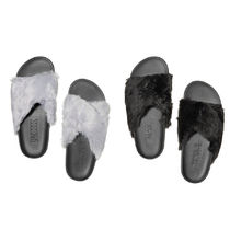 FAUX FUR CRISSCROSS SLIDES 国内発送