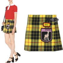 MM316 TARTAN CHECK BUCKLED MINI SKIRT WITH APPLIQUE