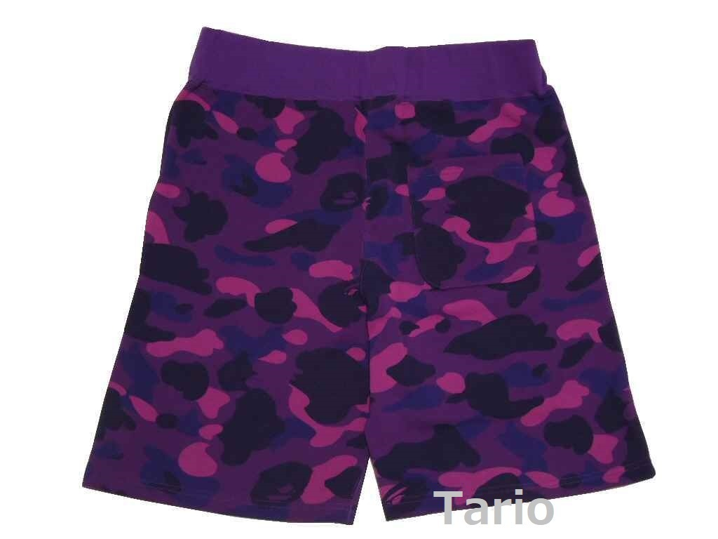 送料込!A BATHING APE★SHARK SWEAT SHORTS / L パープルCAMO