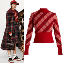 MM320 LOOK12 CHECKED MOHAIR HIGH NECK SWEATER