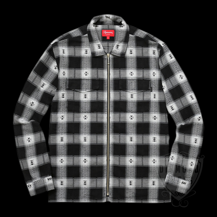 FW17 SUPREME PLAID FLANNEL ZIP UP SHIRT BLACK S-XL 送料無料