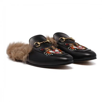 GUCCI PRINCETOWN SLIPPERS WITH ANGRY CAT APPLIQUE