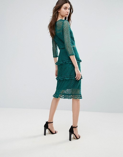 《送関込》ASOS/Liquorish Layered Lace 3/4 Sleeve Midi Dress