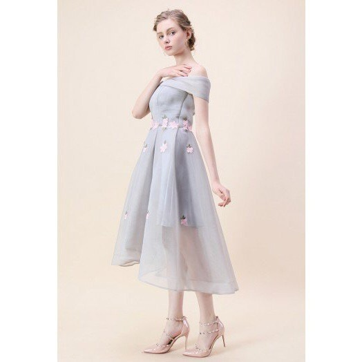 国内発・送関込み☆Chicwish☆Flowers Airy Off-shoulder Dress