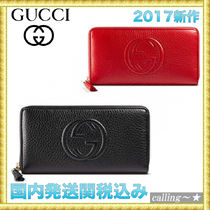 セレブ愛用者多数☆GUCCI☆Soh leather zip around wallet長財布