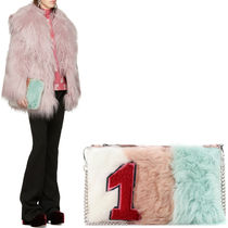MM334 STRIPED SHEEP FUR CLUTCH WITH APPLIQUE