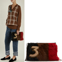 MM335 STRIPED SHEEP FUR CLUTCH WITH APPLIQUE