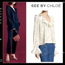関税込【See by Chloe】Ruffled Lace Bell Sleeve Blouse 2色