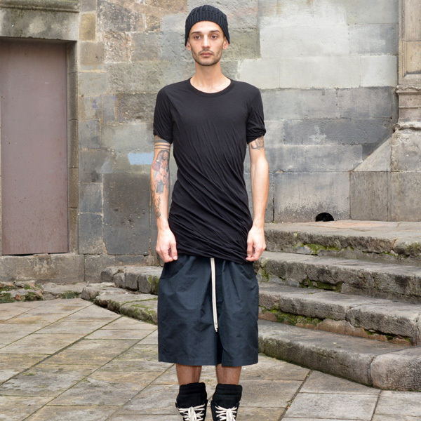 RICK OWENS MENS DOUBLE LAYERED T-SHIRT BLACK