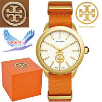 格安!Tory Burch Swiss Collins Orange Fabric Strap Watch