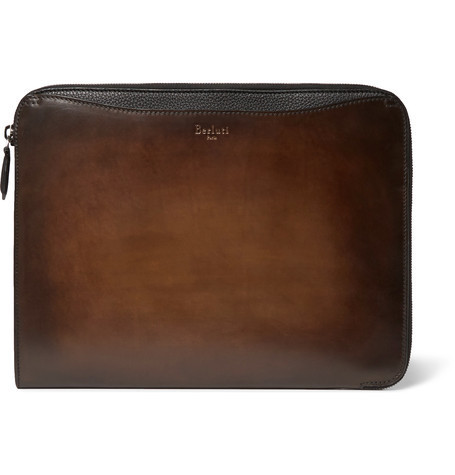 【BERLUTI】Lift Polished And Full-Grain Leather Briefcase