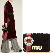 MM344 MY MIU MATLASSE BAG WITH CRYSTAL EMBELLISHED STRAP