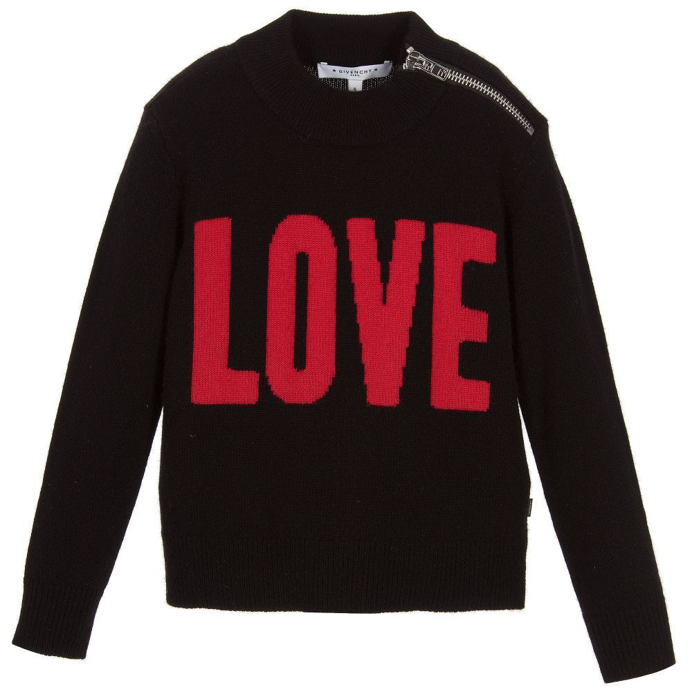 GIVENCHY★2017AW★カシミヤ混セーター★黒LOVE★4Y~5Y