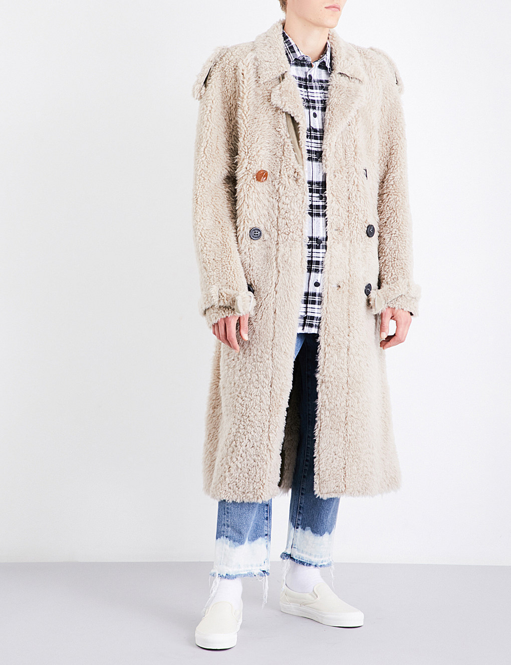 17AW [OFF-WHITE] ムートン ロング トレンチコート 国内発送