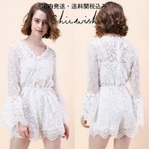 国内発・送関込み☆Chicwish☆Crochet Playsuit w/Bell Sleeves