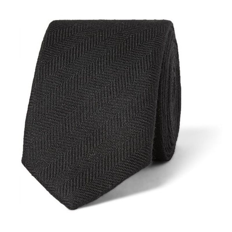 【PRADAプラダ】 4cm Herringbone Silk And Cotton-Blend Tie