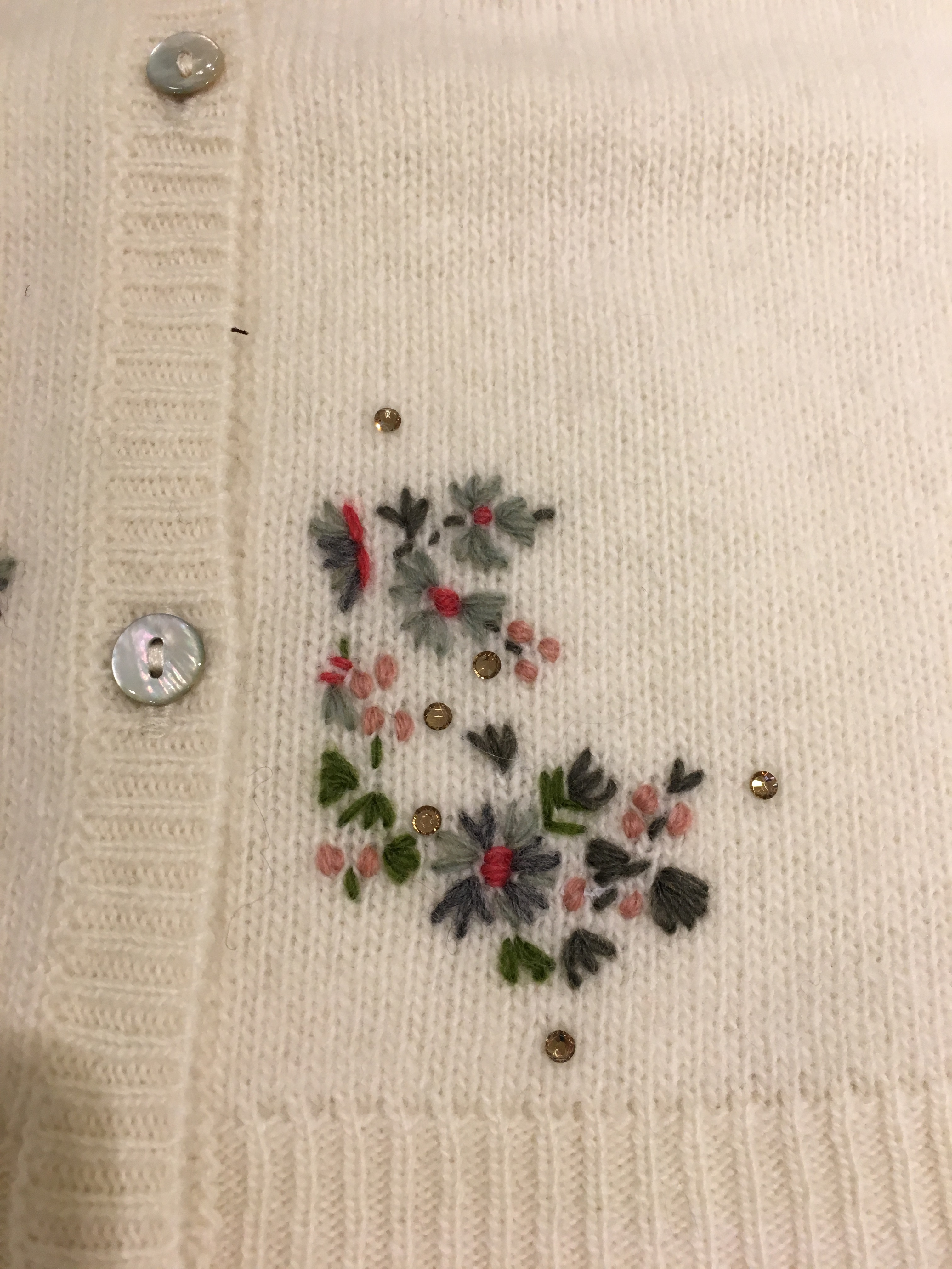 AW17☆FILLE カーディガン刺繍ホワイト3.4.6A