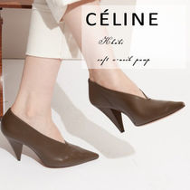 【CELINE】 Khaki soft v-neck pump
