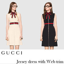 GUCCI★Jersey dress with Web trim★リボン付きワンピース