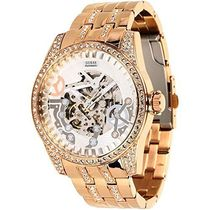 腕時計 ゲス GUESS Men's Rose Gold-Tone Exhibition Watch【並