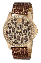 腕時計 ゲス GUESS Women's U0333L1 Animal Print Mesh Gold-Ton