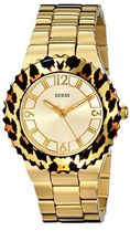 ゲス GUESS Women's U0404L1 Gold-Tone Watch with Animal Print