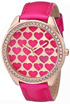 ゲス GUESS Women's U0535L1 Pink Heart Watch with Rose Gold-T