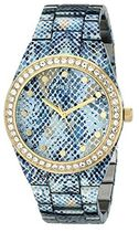 ゲス GUESS Women's U0583L1 Ice Blue Python-Print Gold-Tone W
