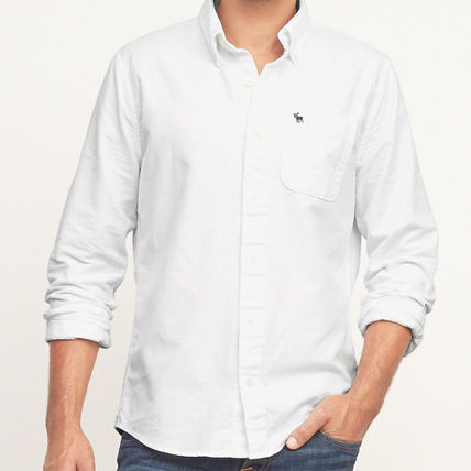 Abercrombie & Fitch シャツ MUSCLE FIT  POPLIN SHIRT  シンプルなホワイトのシャツ!  (2)