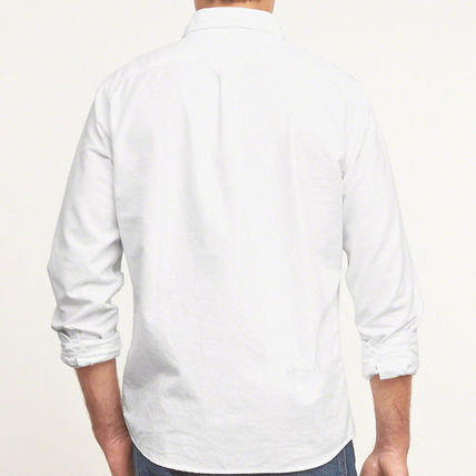 Abercrombie & Fitch シャツ MUSCLE FIT  POPLIN SHIRT  シンプルなホワイトのシャツ!  (3)