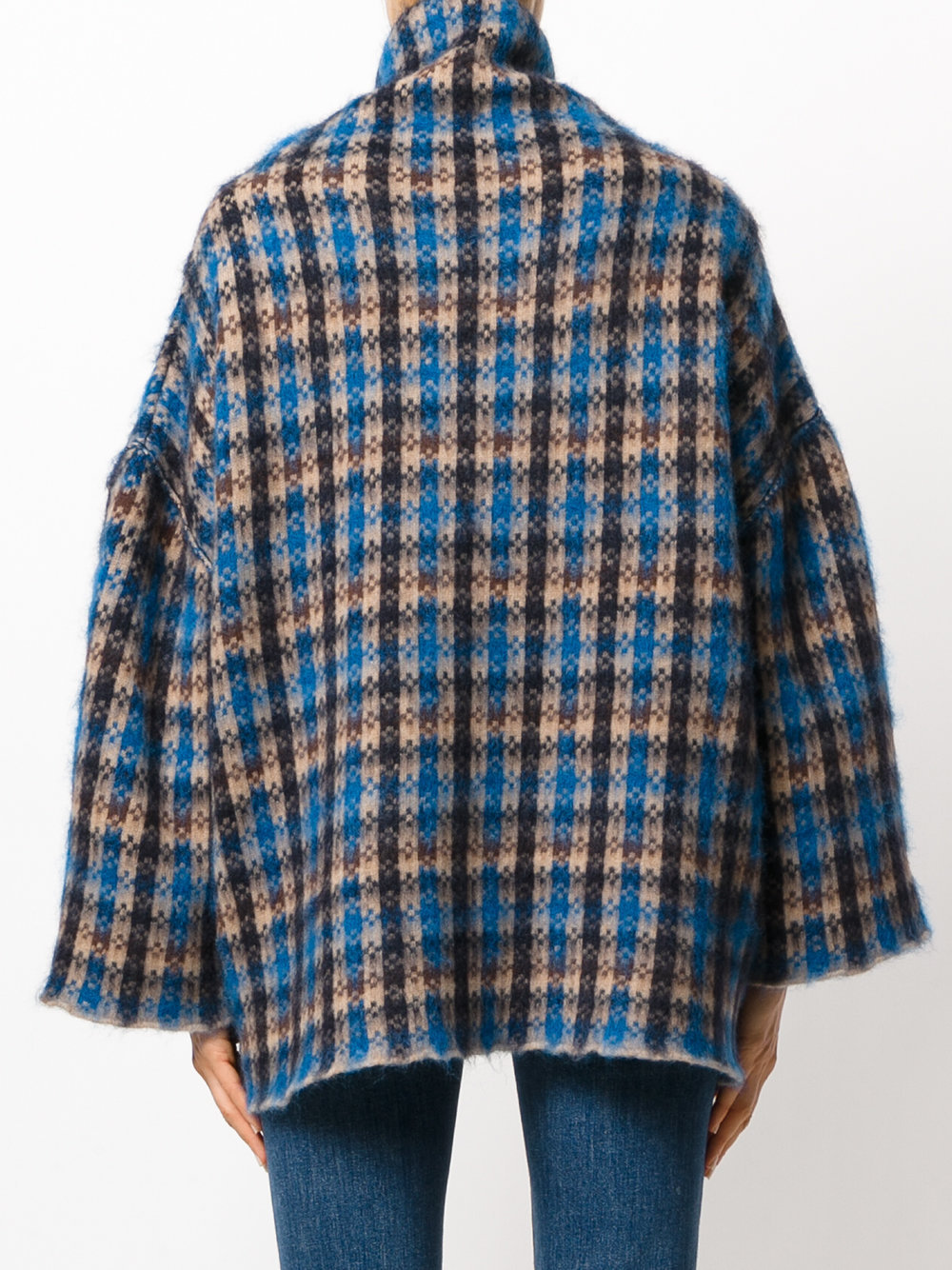 17-18AW SM381 CHECKED WOOL & MOHAIR BLEND OVERSIZED SWEATER