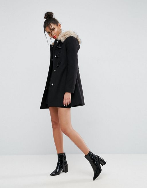 日本未入荷♪ASOS Duffle Coat with Faux Fur Hood コート