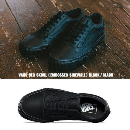 VANS★OLD SKOOL★EMBOSSED SIDEWALL★レザー★25.5~28cm★全黒