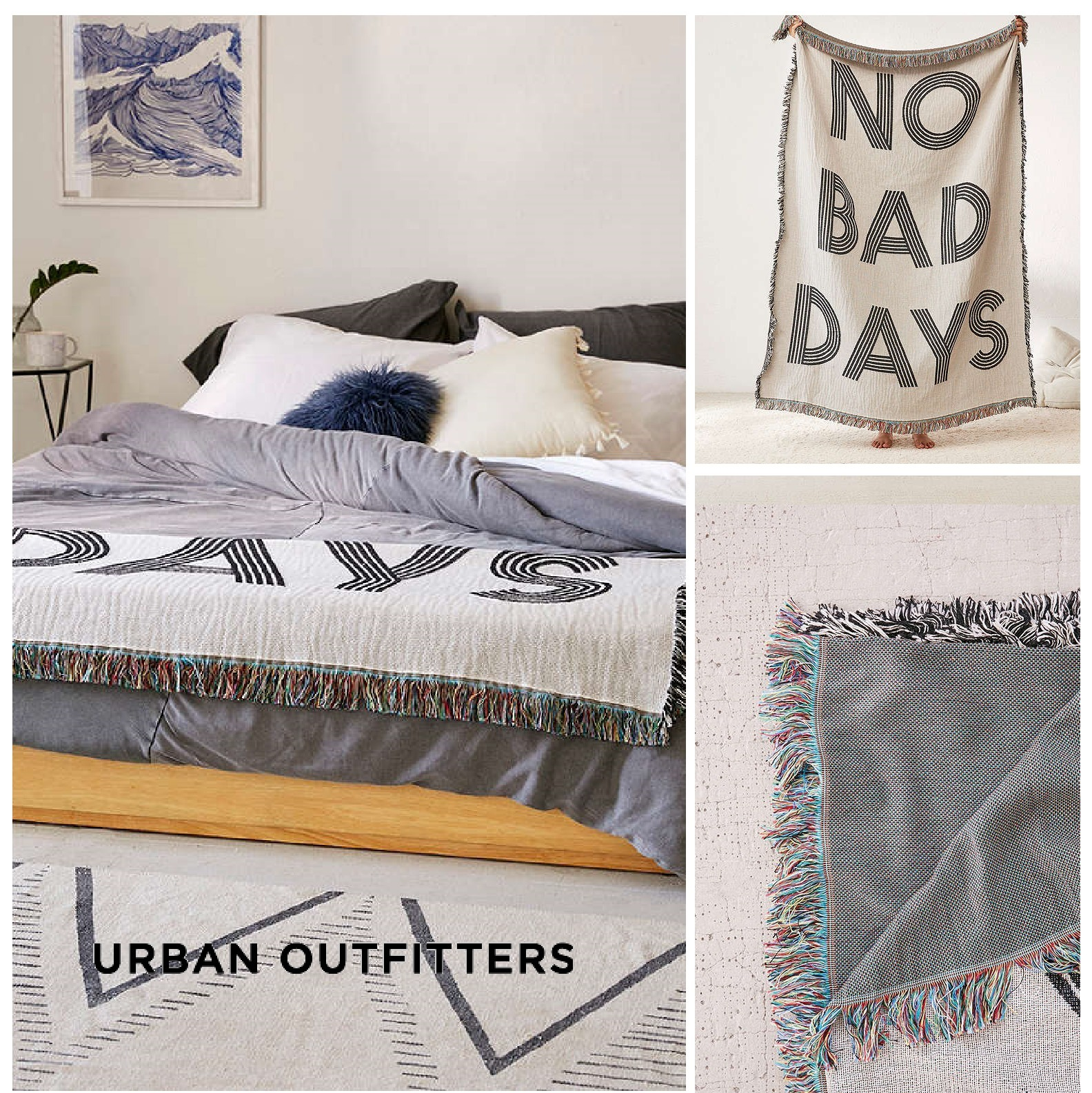 Urban Outfitters☆No Bad Days Woven Throw Blanket