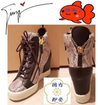 国内即発!Snakeskin-Embossed Leather High-Top Wedge Sneakers