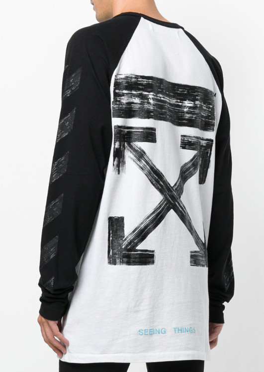 Off-White_正規品 Diag Brushed long sleeved crew-neck t-shirt