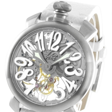 大人気 ☆GaGa MILANO☆ SKELETON 48MM 腕時計 STEEL♪