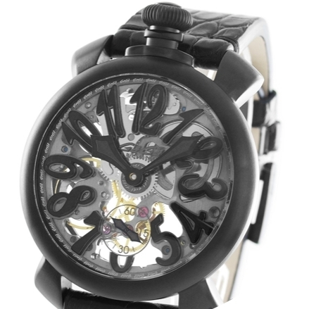 大人気 ☆GaGa MILANO☆ SKELETON 48MM 腕時計 BLACK PDV♪