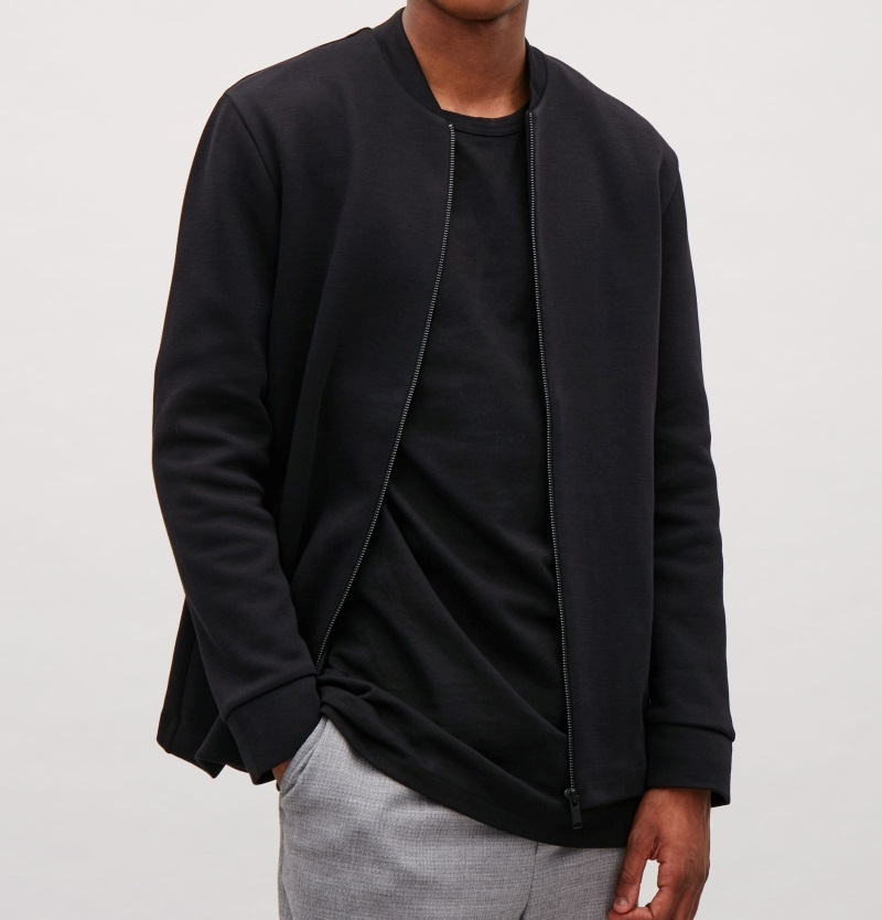 """COS MEN""JERSEY ZIP-UP JACKET BLACK"