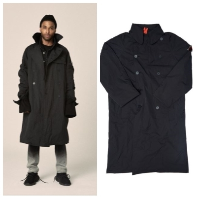 日本未入荷OVERRの17FW COATING BLACK TRENCH COAT