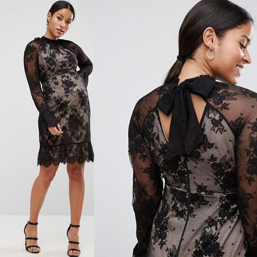 国内発送ASOS High Neck Open Back Lace Mini Dress